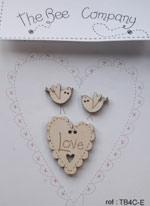 TB4CE coeur love et oiseaux