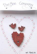 TB4CR coeur love bordeaux et oiseaux