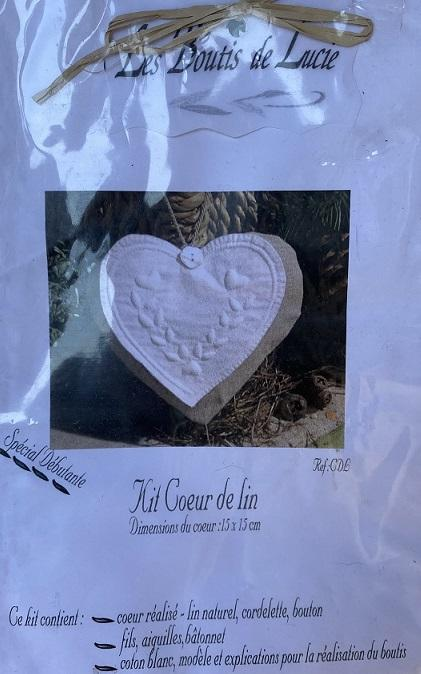 Kit boutis coussin coeur lin